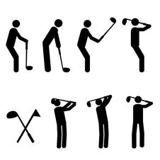 Golfing Man Silhouttes Stock Images