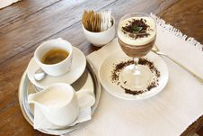 Free Espresso Coffee And Chocolate Mousse Desert Stock Image - 23079311