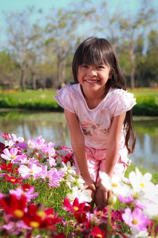 Free Little Girl With Flowers Field Royalty Free Stock Images - 23081389