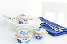 Blue And White Flower Cupcakes Stock Photo