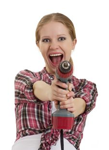 Free Cheerful Girl With Cordless Drill Royalty Free Stock Photo - 23082395