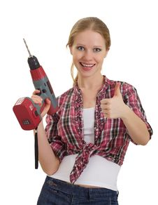 Free Cheerful Woman With  Drill Shows Thumb Up Royalty Free Stock Images - 23082409