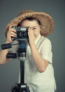 Free Boy With Camera Stock Photos - 23083173