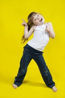 Free Cheerful Girl Dances. Stock Photos - 23086633