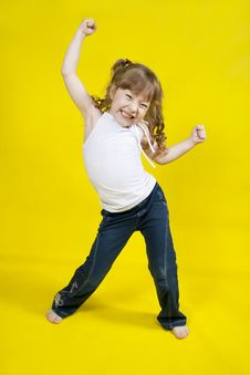 Free Cheerful Girl Dances. Royalty Free Stock Images - 23086699