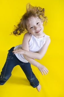 Free Cheerful Girl Dances. Royalty Free Stock Images - 23086749