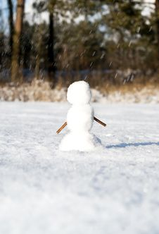 Free Snowman Sculpted In Winter Stock Images - 23086794