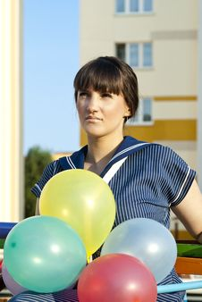 Free Portrait Of A Beautiful Girl With Balloons Stock Photo - 23087410