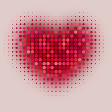 Red Color Halftone Heart Royalty Free Stock Images
