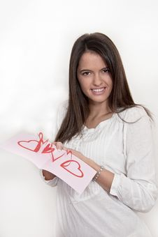 Free Young Girl With Card With Pop Up Hearts Royalty Free Stock Image - 23092886