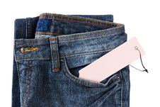 Free New Blue Jeans Trouser And Tag Royalty Free Stock Images - 23093809