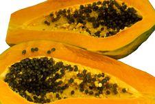 Free Papaya, Cut Two Hemispheres. Royalty Free Stock Image - 23095256