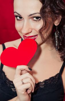 Free Woman And Red Heart Royalty Free Stock Images - 23098609