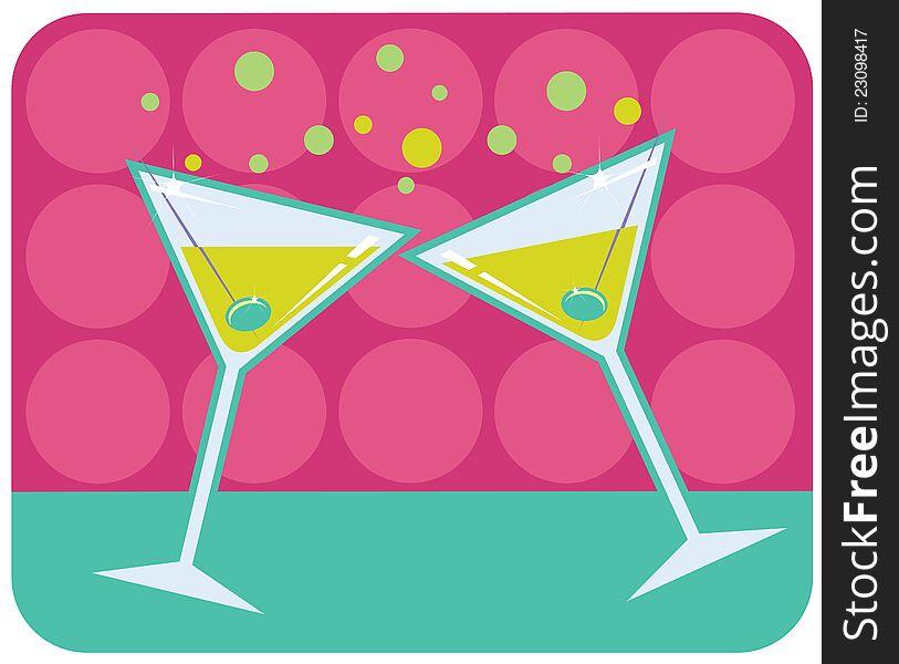 Martinis retro style illustration.