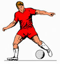 Free Striker Driblling Ball Red Stock Photography - 2314932