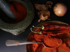 Free Mortar, Paprika, Chili Royalty Free Stock Photo - 2310215