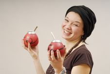 Free Smiling Woman With Calabash Stock Photo - 2311800