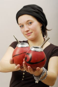 Serious Woman With Calabash Stock Photography