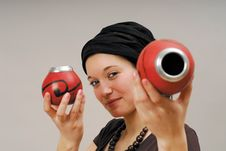 Woman With Calabash Stock Photography