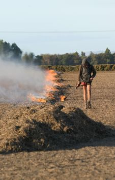 Free Stubble Fire Being Lit Stock Photo - 2313110