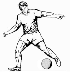 Free Striker Driblling Ball Bw Royalty Free Stock Photos - 2314918