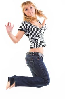 Free Girl Jumping Of Joy Stock Photo - 2318690
