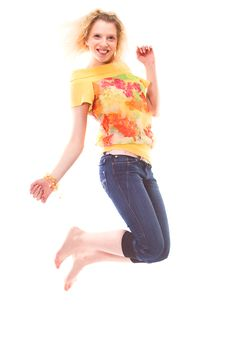 Free Girl Jumping Of Joy Royalty Free Stock Photography - 2318967