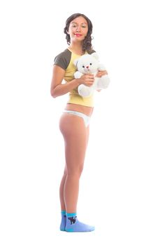 Beautiful Teen Holding A Teddy Bear Royalty Free Stock Images