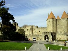 Front Entrance Of Carcassonne Royalty Free Stock Photography