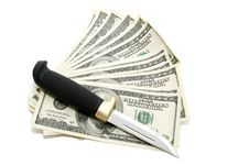 Dollar,knife Stock Images