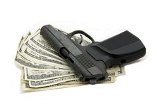 Free Money And A Gun Stock Photography - 23100382