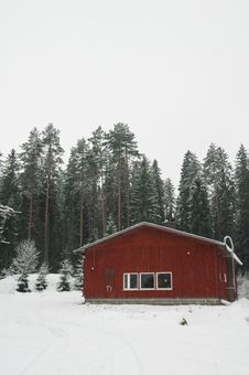 Traditional Finnish Cottage In The Winter Royalty Free Stock Photo