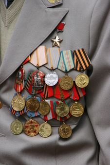Free Soviet Military Awards On Veteran Chest Royalty Free Stock Images - 23105029