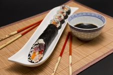 Free Sushi And Soy Sauce Served With Chopsticks Stock Images - 23109344