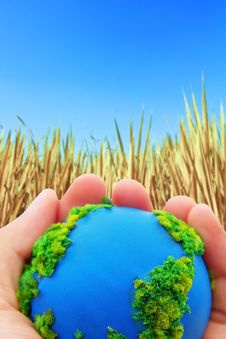 Free Hands And Earth On Dry Hay Background Stock Photos - 23109543