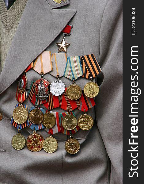 Soviet military awards on veteran chest