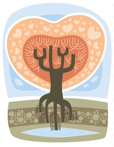 Valentine Love Tree Royalty Free Stock Images