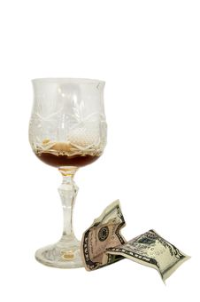 Free Empty Glass Of Grog And Tip Dollars Stock Image - 23111821