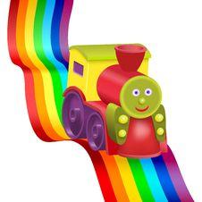 Free Rainbow And Funny Locomotive Stock Image - 23115521
