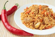 Free Pilaf With Chunks Of Chicken And Carrots Stock Photos - 23115673