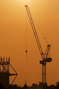 Free Crane On A Sunset Background Stock Photos - 23116463