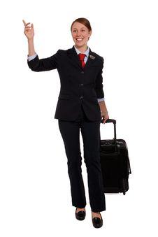 Flight Attendant Hailing A Taxi Stock Photo
