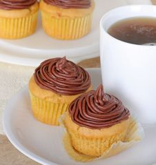 Chocolate Frosted Cup Cakes Stock Photography
