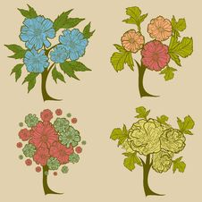 Free Vector Set Of Trees Royalty Free Stock Images - 23131849