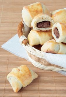 A Basket Of Rolls With Chocolate Royalty Free Stock Photo