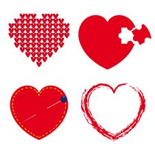 Free Set Of Red Hearts Stock Images - 23132274