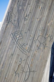 Signs On The Monument At The Polar Circle Royalty Free Stock Images