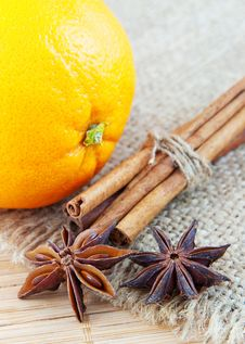Free Orange And Cinnamon Still Life Stock Image - 23136041