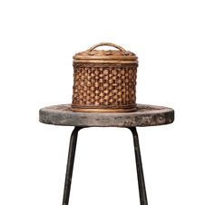 Free Basket Wicker Is Thai Handmade On Grunge Chair Royalty Free Stock Photography - 23137757