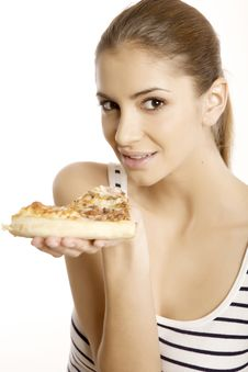 Free Young Beautiful Woman Eat Pizza Stock Photography - 23138972